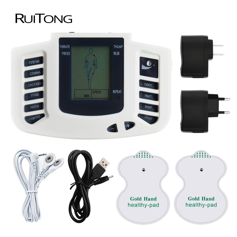 Russian Button Electrical Stimulator Full Body Relax Muscle Therapy Massager Pulse Tens Acupuncture Therapy Slimming Massager elera electrical muscle stimulator body relax slimming massager massage pulse tens acupuncture therapy machine