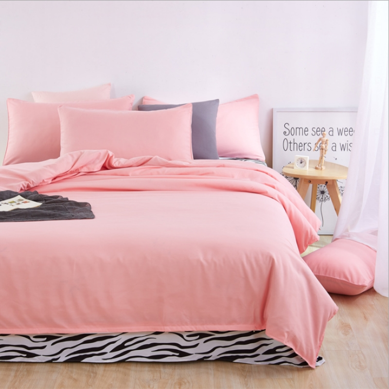 4pieces/set Nature Cotton Bedding set linens Soft Brief style Pink Duvet cover Pillowcases zebra-stripe bedspread bed blanket nature explorer box set