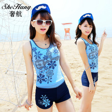 2016 swimwear female Summer Swimsuit Women Swimwear 2 Pieces Set Beach Bathing Suit Slim Fit Top & Boyleg Pants Tankini Set