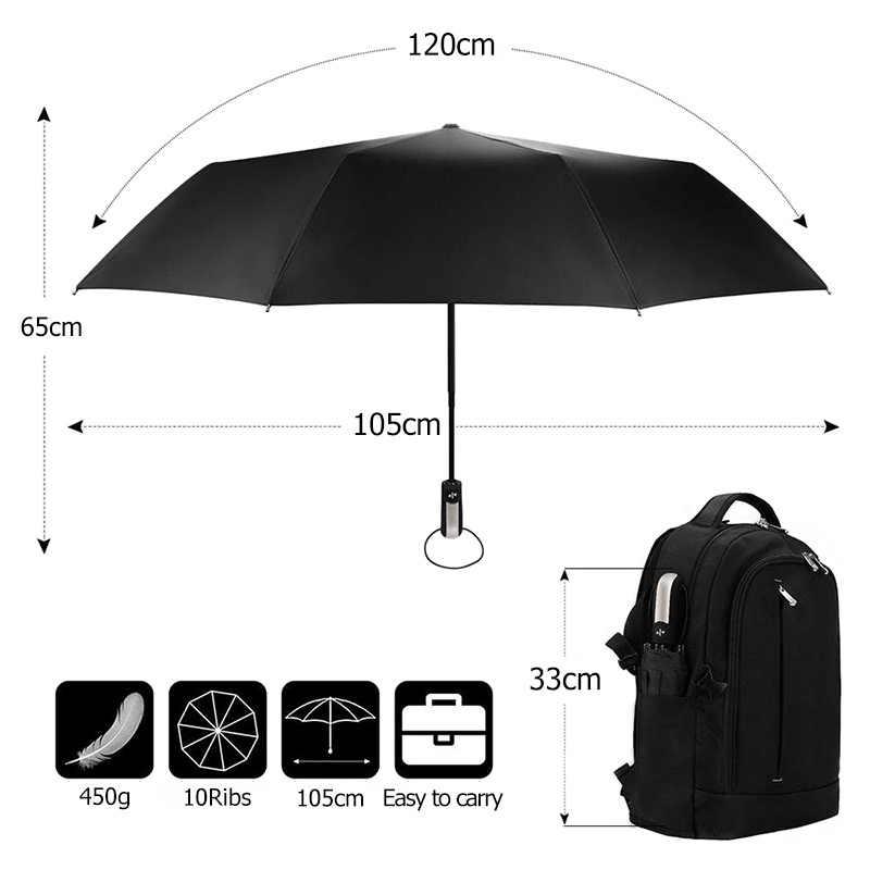 Odporny na wiatr w pełni automatyczny Parasol deszcz kobiety dla mężczyzn 3 składany prezent duży Parasol 10K kompaktowy podróż biznes parasole samochodowe