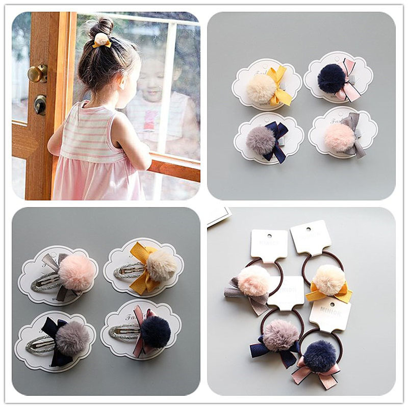 MIXIU 4pcs/set Cute Hair Clips Bowknot Pompom Ball Safe Hairpins Elastic Hair Rope For Kids Girl Woman Hair Ornament Accessories