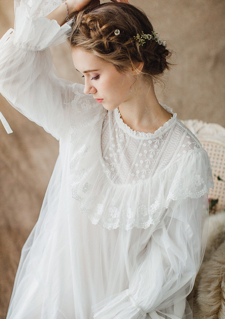9307efdd59f Aliexpress.com   Buy Women Ladies Victorian Style Long Sleeve Vintage White  Solid Lace Nightgown Plus Size Sleepwear Lingerie Dress Plus Size T26 from  ...