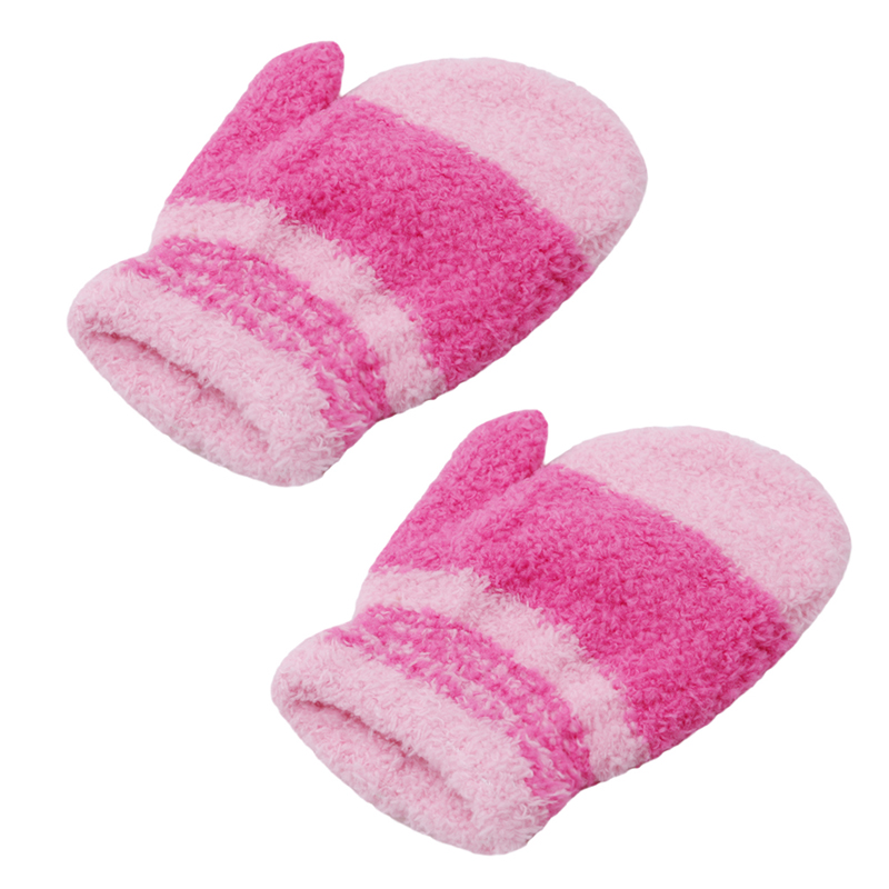 Bigsweety Winter Warm Plush Gloves Children Kawaii Coral Fleece Knitted Mittens Girls Soft Colorful Striped Full Finger Gloves