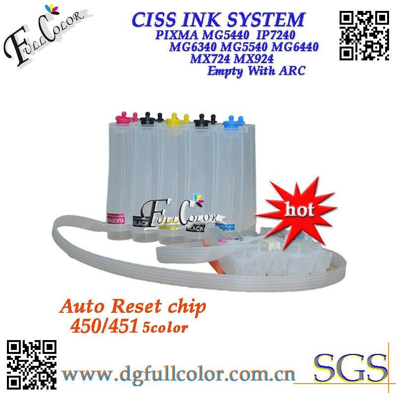 Livraison gratuite 450 451 système d'encre CISS avec puce ARC pour Canon PIXMA MG5440 IP7240 MG6340 MG5540 MG6440 MX724 MX924