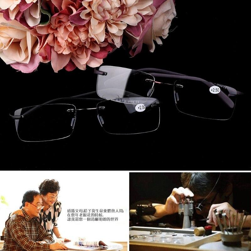 Unisex TR90 Rimless Reading Glasses Presbyopic Eyeglass Spectacles Resin Lens