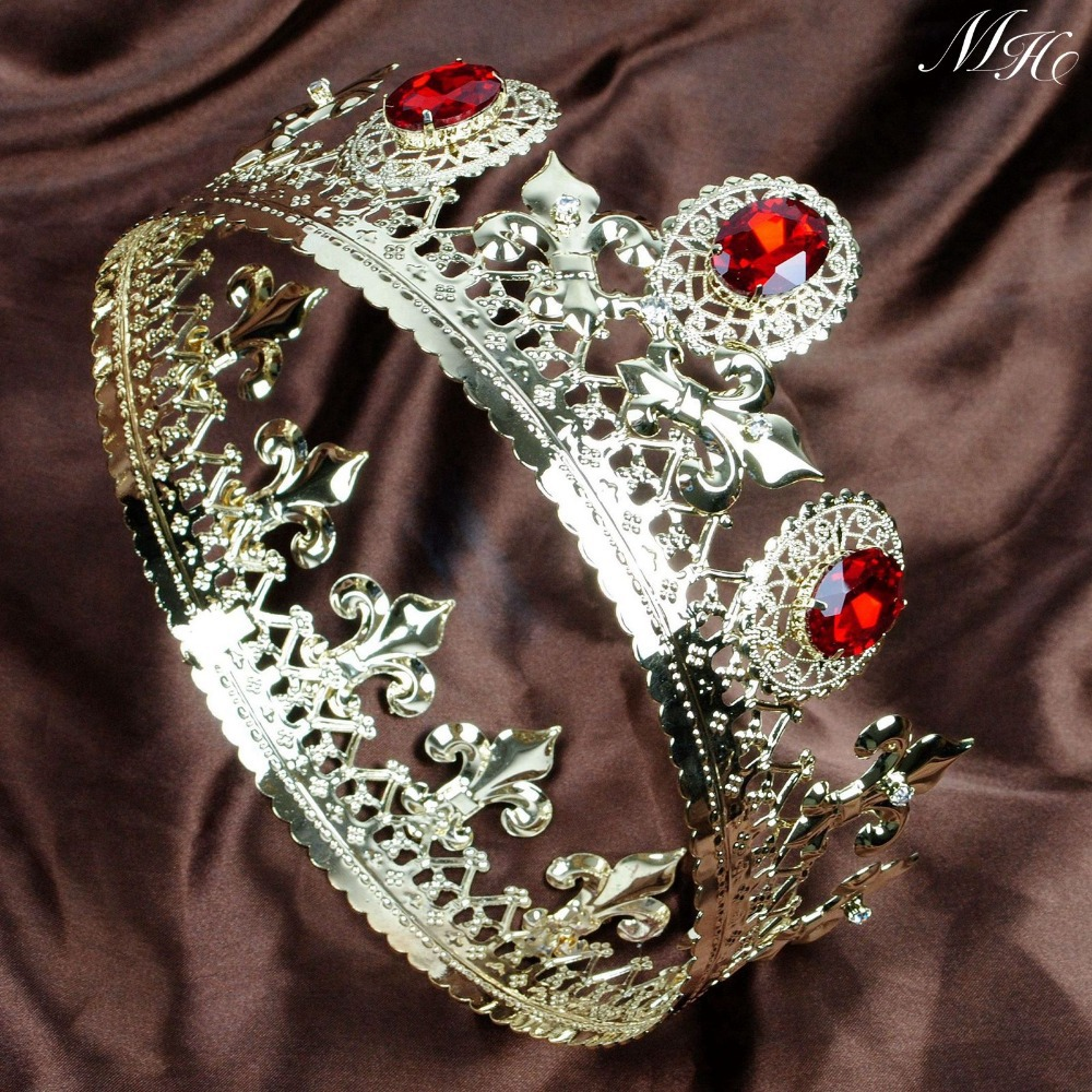 Red Crystal Gold Tiaras Full Round Crowns 3.5 Imperial Medieval Headband Hair Jewelry Bridal Pageant Party Costumes Art Deco