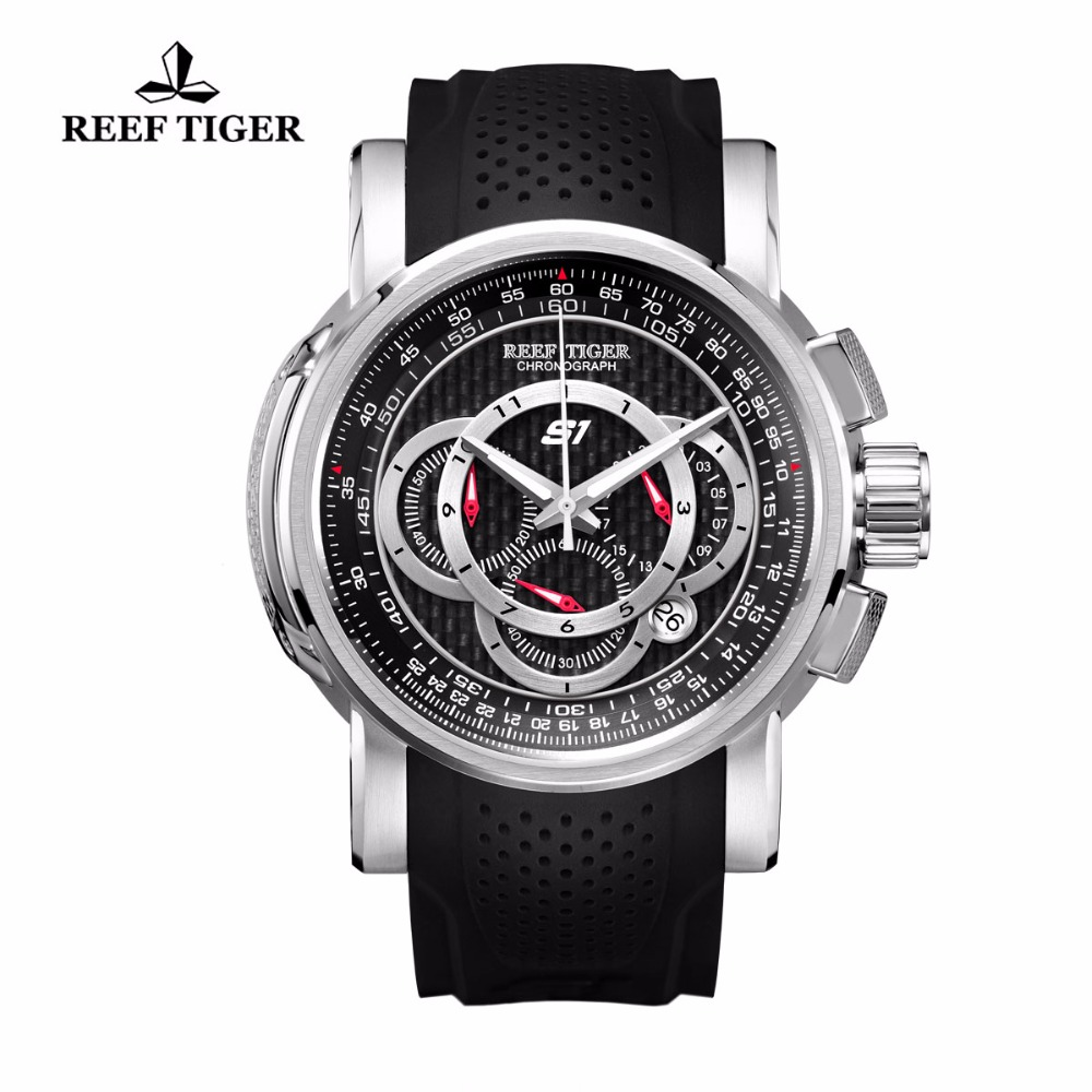 Reef Tiger/RT Sport Watch with Chronograph Date Black Dial Rubber Strap Mens Watches Quartz Watches RGA3063 pattous mens sports watch black genuine leather chronograph dial date sport quartz watches miyota quartz wrist watch gift box