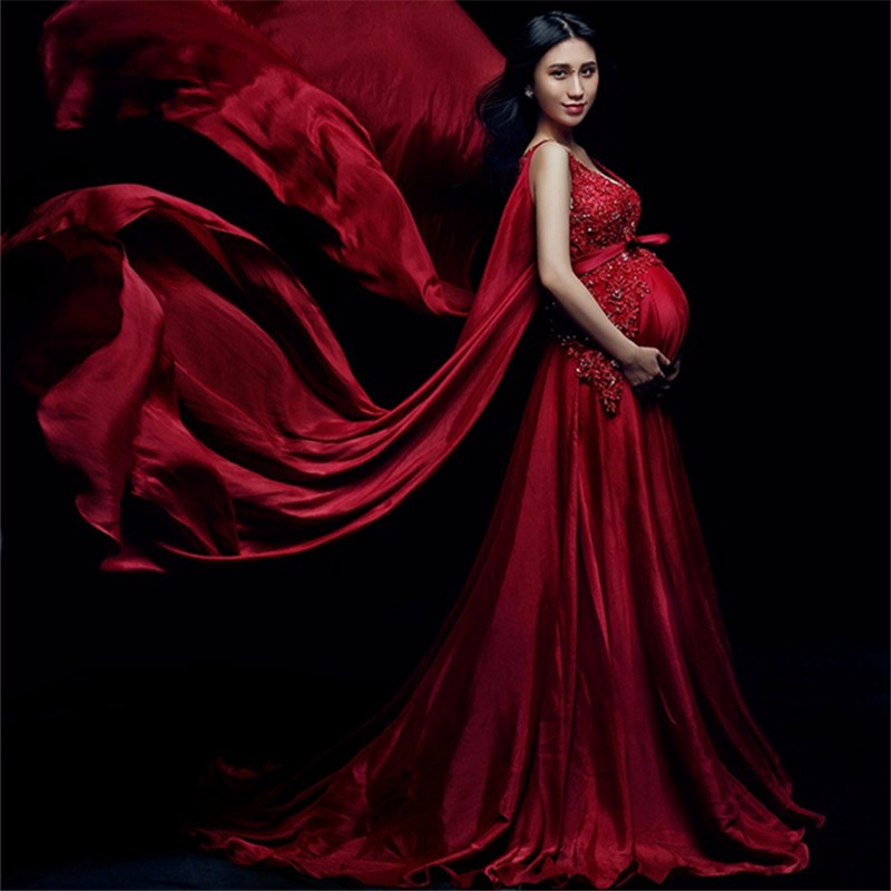 Pregnancy Wedding Dress Fancy Photo Shoot Clothing V-Neck Red Maternity Dress Pregnant Photography Props Maternity Gown Dress luxury sequins chiffon maternity maxi gown long party evening dress photography props pregnancy photo shoot studio clothing