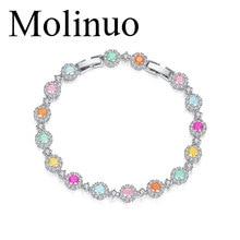 Molinuo Candy colors Fashion Round Womens color  Zirconium Bracelet Size Adjustable
