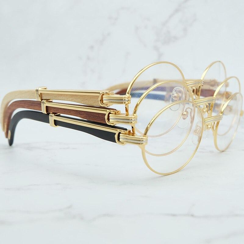 Retro Oval Wood Clear Eye Glasses Frames for Men Carter Eyeglasses Frame Women Men Accessories Luxury Brand Gold Optical Frames
