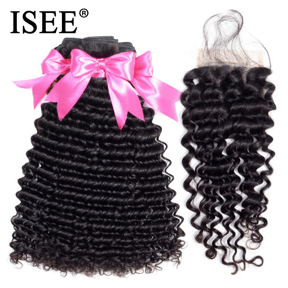 ISEE HAIR Deep Wave Bundles With Closure Remy Human Hair Bundles With Closure Nature Color 3 Bundles Malaysian Hair With Closure