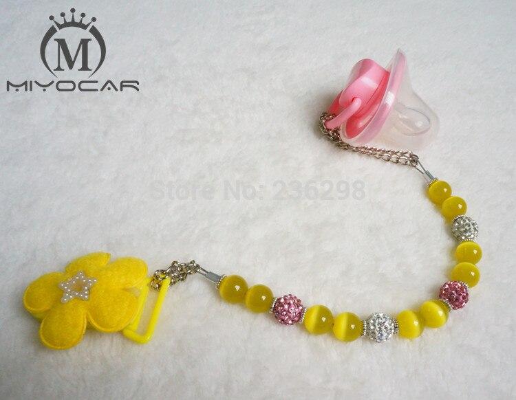 MIYOCAR rumene opale kroglice bling nosorogovo ročno narejene verižice / sponke za zadnjico / posnetek za posteljico / ščipalka za zobe / držalo za piling