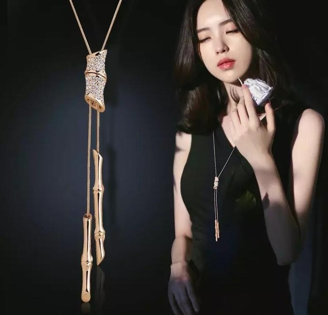 Slub Crystal Long Sweater Chain Necklace Vintage Accessary Crystal Collares Collector Mujer Statement