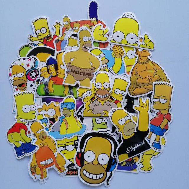 25pcslot Funny Anime Cartoon Simpsons Graffiti Stickers For Moto