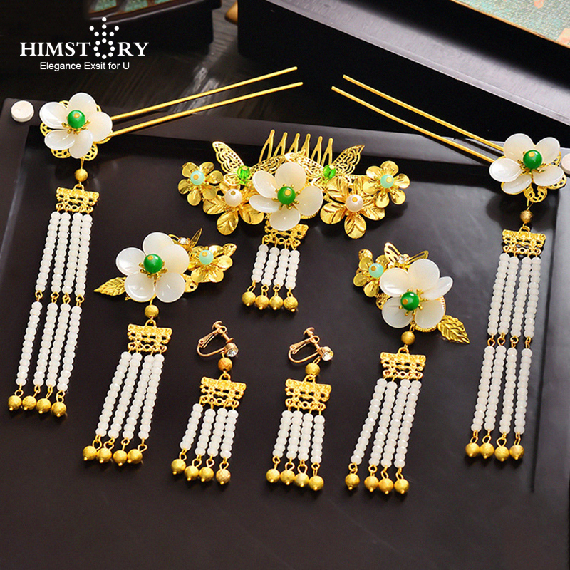 Himstory Retro Chinese Bride Headdress PEarl Hairpins Wedding Hair jewelry Elegance Flower Coronet Hair pins comb earrings set bride chinese vintage headdress beaded tassel protein hairpins comb crystal hair jewelry vintage wedding hair accessories