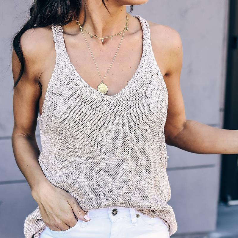 2018 Summer Tops Women Fashion Knitting Sweater Blusas V Neck Casual Camisole Vest Chic T Shirt Streetwear WS6916X