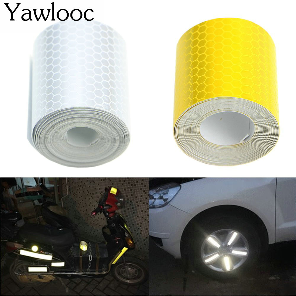 3mX5cm Fluorescence Pure Yellow Reflective Car Truck Motorcycle Sticker Safety Warning Signs Conspicuity Tape Roll fluorescence yellow high visibility