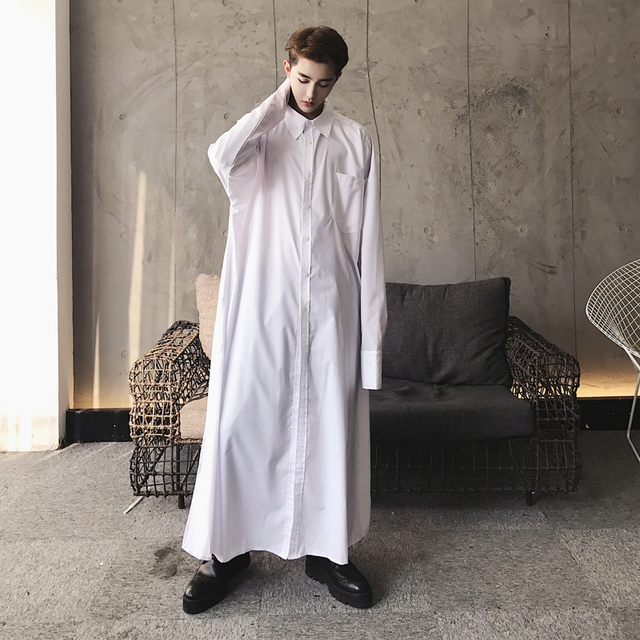 44721c4f01cd Men Super Long Dress Shirt Male Fashion Show Robe Long Sleeve Casual  Pullover Shirts Middle East Costumes