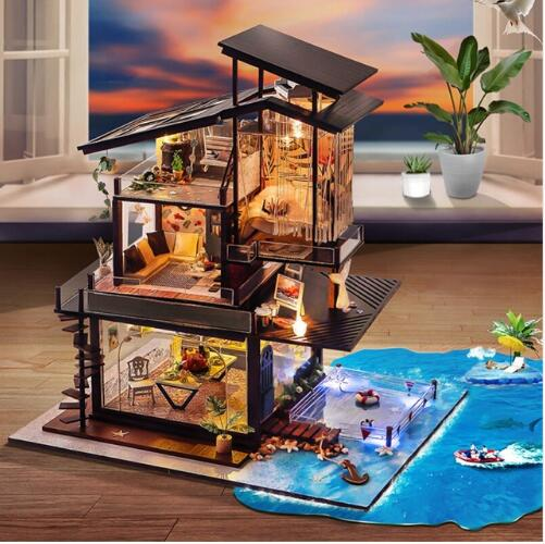 DIY Doll House Miniature Dollhouse With Furnitures Wooden House Miniaturas Toys For Children New Year Christmas Gift недорого