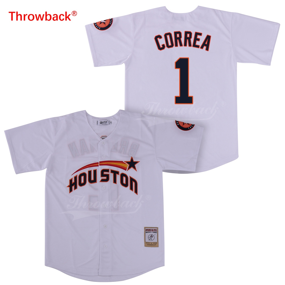 promo code 38d32 5f590 Throwback Baseball Jerseys Men's Houston Jersey Altuve Jerseys Colour White  Blue Red Grey Orange Free Shipping