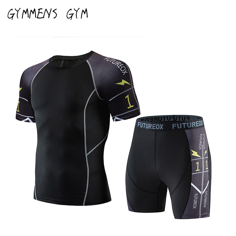 2019 Fitness MMA Compression Shirt Men's Rashguard Men's Short Sleeve T-Shirt Bodybuilding Men's Lightning Fitness Set