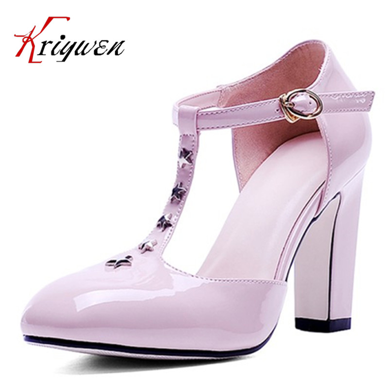 Plus size 33-42 Thick High heels shoes for woman Ladies Sexy Pointed Toe pumps Buckle rivets T-strap wedding shoes bridal pumps egonery buckle strap faux leather thick high heels fashion style ladies party shoes women s shoe plus size woman pumps