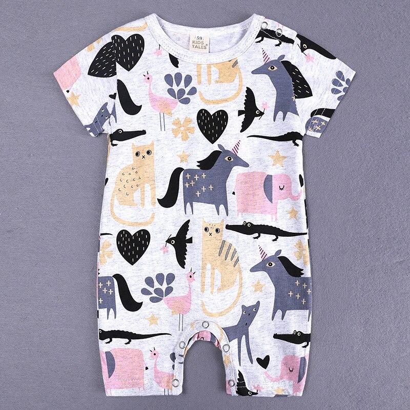 HTB1HGtzXPDuK1Rjy1zjq6zraFXaW 2019 Cartoon Baby Onesies Summer Cotton Romper Boy Girls 0-24 Months Kids Clothes Knitted Cartoon Short-sleeved Jumpsuit Outfits
