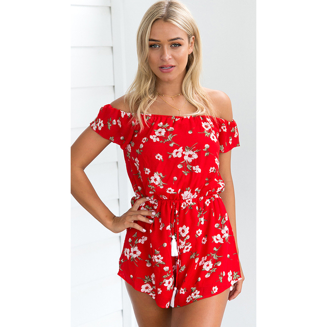 fb16d15d17 Wonder Beauty Casual Off Shoulder Floral Printed Women Romper Jumpsuit  Summer Bohemian Beach Loose Strapless Short Playsuits