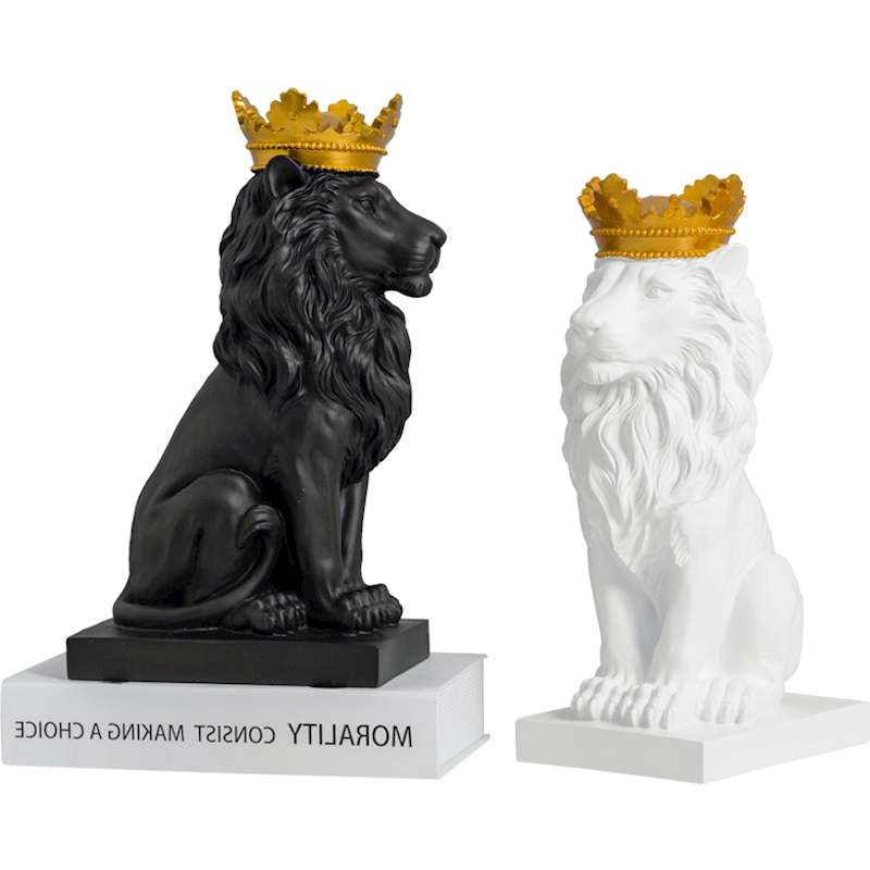 New Creative Modern Gold Crown Black Lion Statue Animal Figurine Sculpture For Home Decorations Attic Ornaments Gifts R130New Creative Modern Gold Crown Black Lion Statue Animal Figurine Sculpture For Home Decorations Attic Ornaments Gifts R130