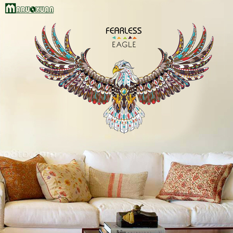 YunXi Colorful Eagle Animal Sticker Personal Bedroom Living Room Study Office Background Decorative Wall Stickers 74*120CM