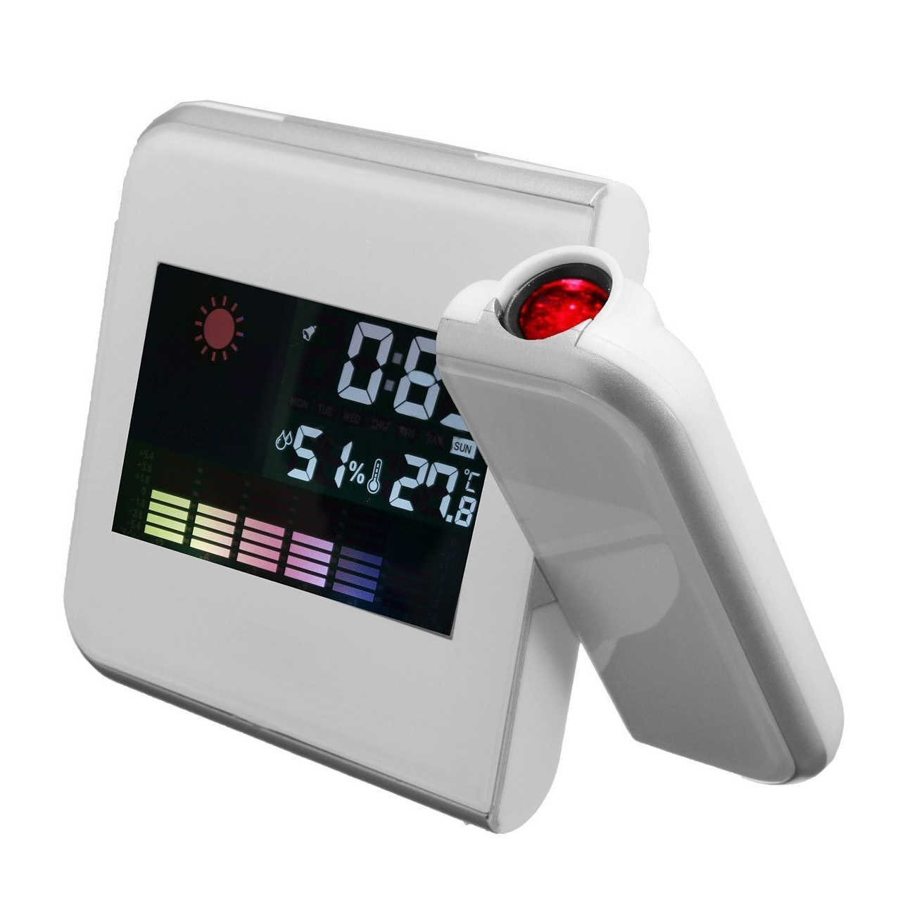 3 7 Digital LCD Time Projection Projector LED Alarm Clock Weather Temp White