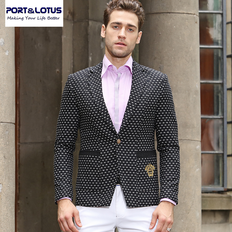 Port Lotus Blazer Men New Arrival Wool Linen Fabric With Dot Single Button Fashion Casual Suit