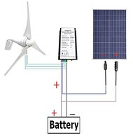 USA Stock No Tax No Duty Daily 12V 500W/H Hybrid System Kit:400W Wind Turbine Generator & 100W PV Solar Panel