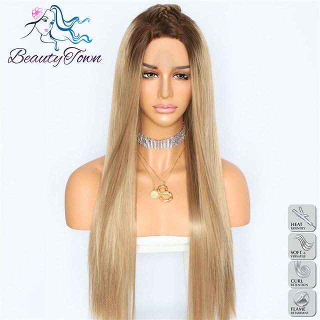 BeautyTown Ombre marrón pelo liso resistente al calor mujeres boda fiesta Halloween presente encaje sintético frente diario pelucas de maquillaje