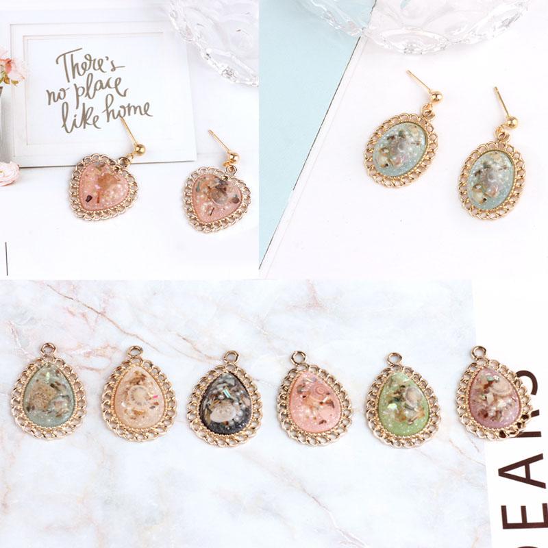 10pcs/lot Vintage resin oval heart drop water shape charm Hair accessories Diy earring pendants handmade jewelry accessories