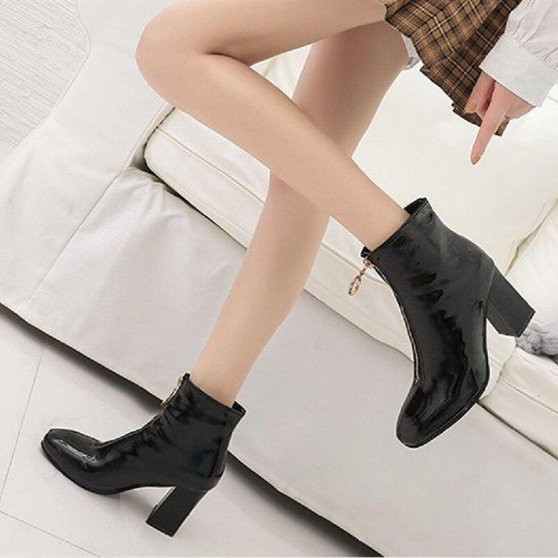 Alto Beige Tacón Negro De Cómodo Mujer E Casual Moda Cresfimix Pu Zapatos Altas Botas Cuero b A Invierno C3030 Otoño Zaq7wC7tx