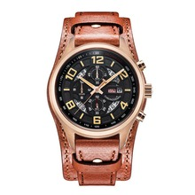 Parnis Pilot V Serier Luminous Mens Leather Watchband Military Sport Chronograph Quartz Watch Wristwatch With Static