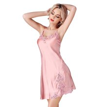 New100% Silk Satin Solid Women Nightgown Pearl Gray / Pink Solid Sexy Lace Nightie Ladies Nightdress Chemises Slip sp0029(China)