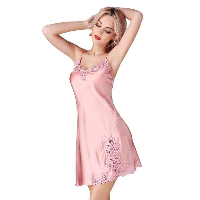 107d2b1f6 New100 % de Seda de Cetim Mulheres Sólidos Camisola Pérola Cinza Rosa  Sólidos Sexy Lace
