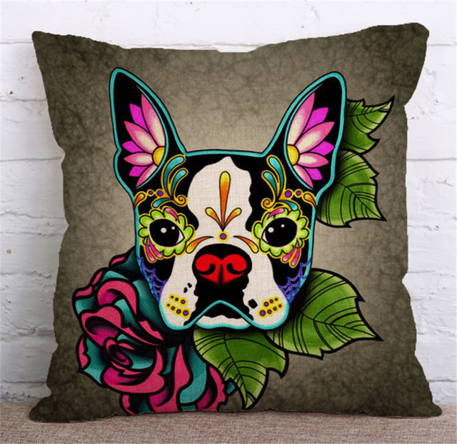 Pop Art Bulldog Print  Decorative Throw Pillow Case