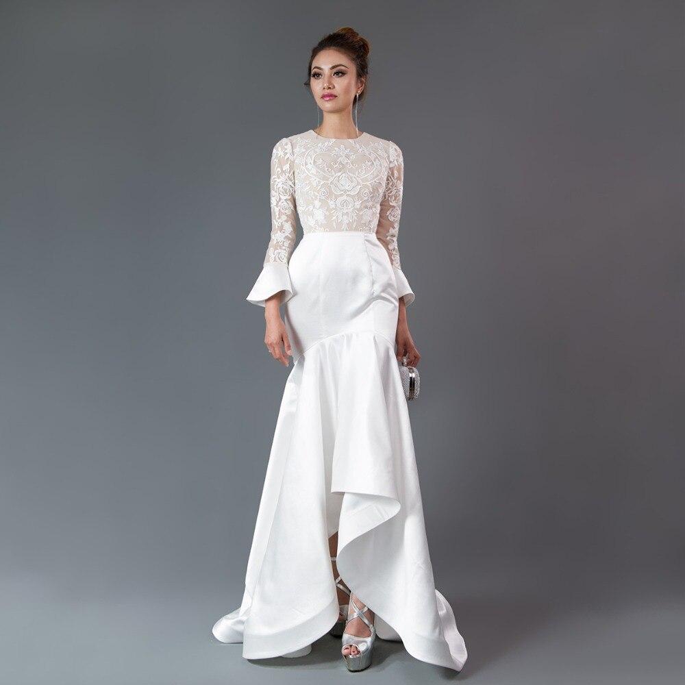 89641b9552c Cazdzy ruffles maniche lunghe Della Sirena del Vestito Da Sera da sposa  Hi-lo di