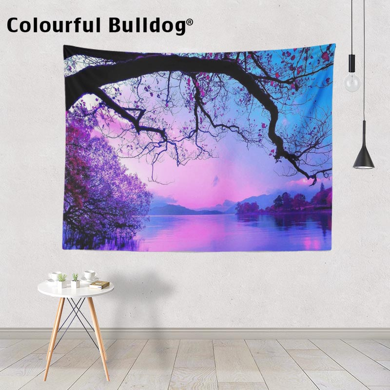 Sunset Landscape Yoga Blankets Orange Purple Lake Scenic Wall Hanging Colorful Forest Trees Tapestry Mountain Living Room Decor