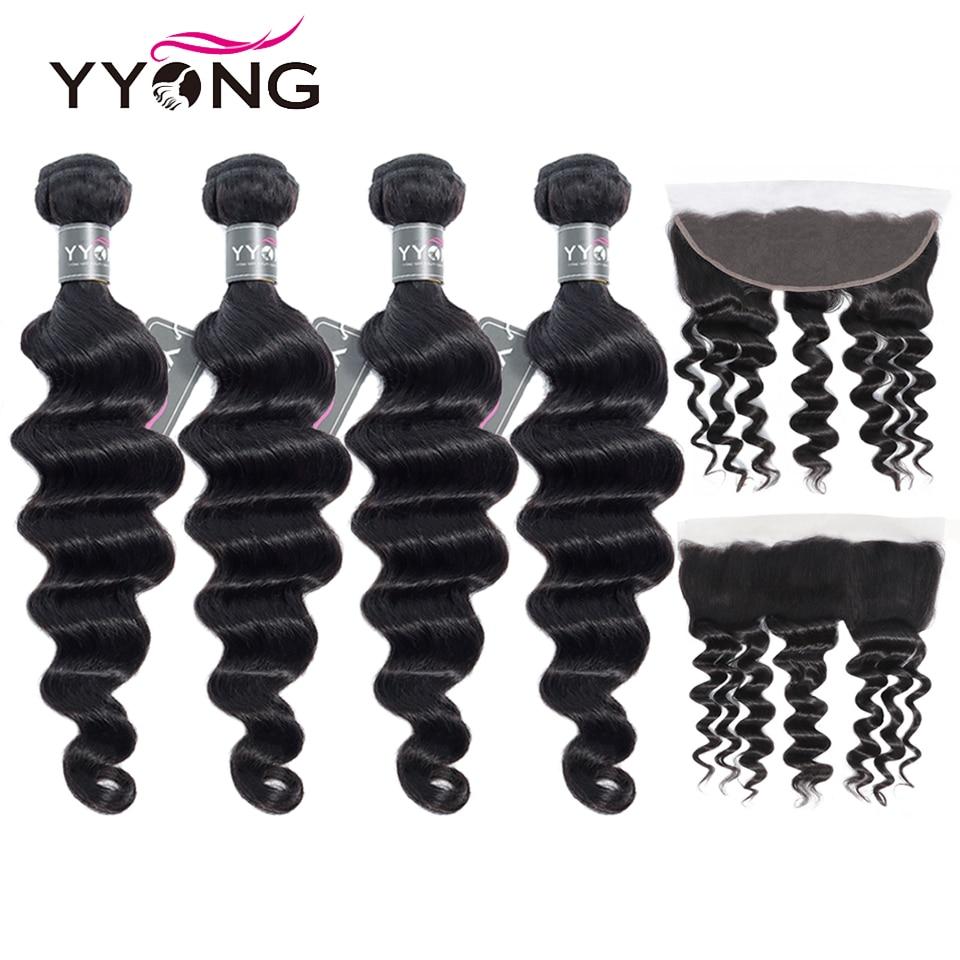 YYong Loose Deep Wave Bundles With Frontal Brazilian Human Hair 3 4 Bundles With Closure Remy