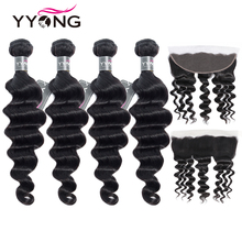 YYong Loose Deep Wave Bundles With Frontal Brazilian Human Hair 3/4 Bundles With Closure Remy Hair Lace Frontal With Bundles
