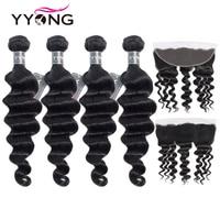 Yyong волосы 3/4 Бразильские глубокие волнистые пучки с фронтальной 100 Remy человеческие волосы переплетения пучки с 13x4