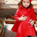 Девушки красный Принцесса пальто дети шерсть двойной грудью пальто Зимние модели 2016