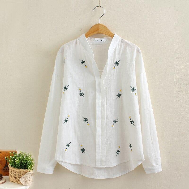 Moda de ropa de trabajo camisa de Gasa bordada de las mujeres Blanco Blusa Forma