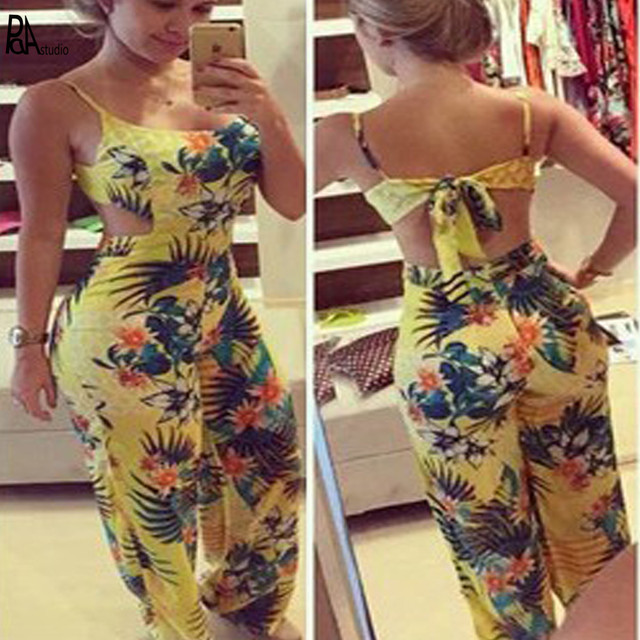cb4a08004fc Africa Brazilian Floral Print Back Hollow Out Bow Design Strap Straight  Wide Leg Full Length Jumpsuits Romper Plus Size 2XL 3XL