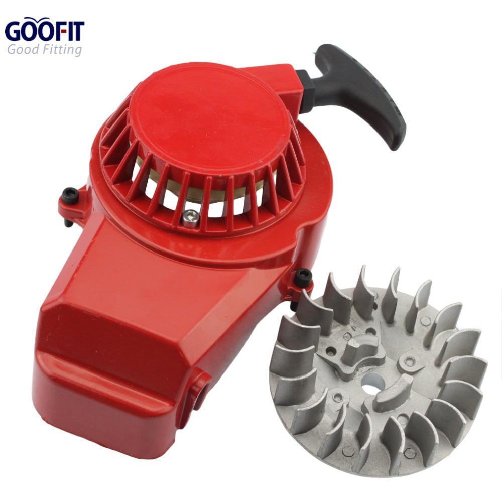 GOOFIT Alloy Motorcycle Pull Start Recoil Starter with Flywheel for 47cc 49cc Pocket Dirt Bike Mini ATV K070-126-1