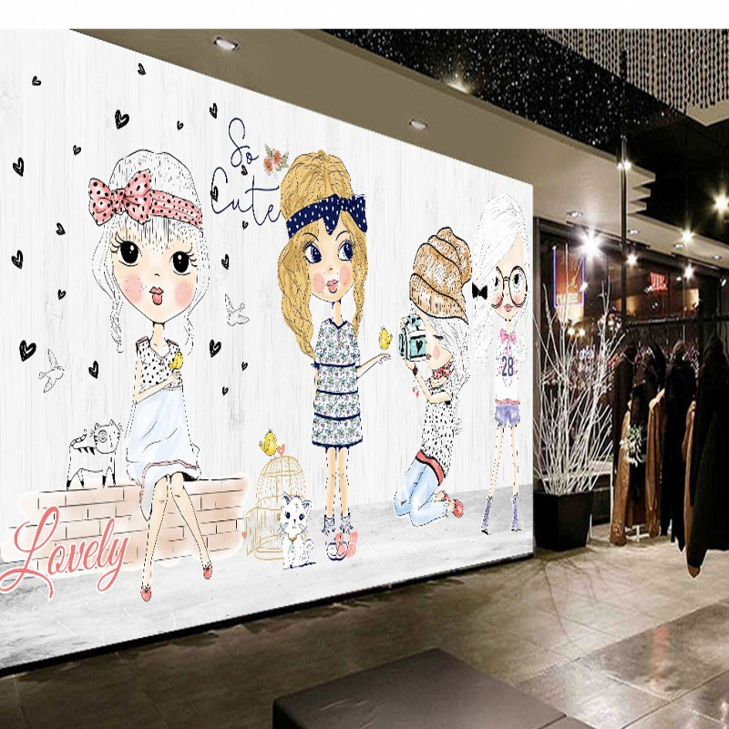 custom 3d photo wallpaper fashion girl hand painted cartoon mural